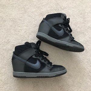 Nike. Sky Hi Dunks. Black + Gray.